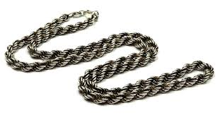 antique silver necklace chains images Vintage sterling silver 18 inch 4mm rope chain necklace jpg