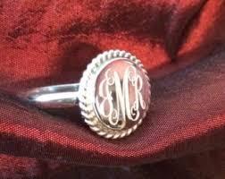 monogrammed rings silver rings etsy