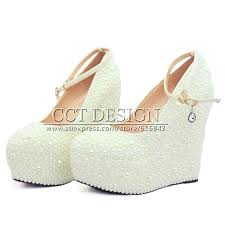 wedding shoes wedges 2016 new fashion women wedges wedding shoes white ivory pearl
