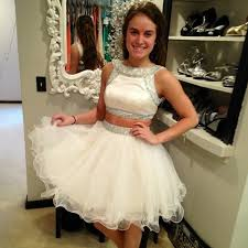 puffy short prom dresses 2 pieces ball gown full beaded bodice