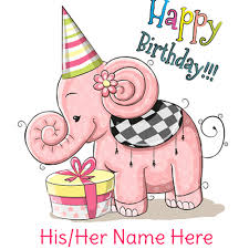 write name on cute elephant happy birthday card hbd wishes