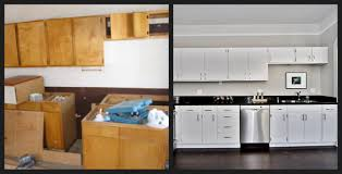 Painting Kitchen Cabinet Outstanding Brown Painted Kitchen Cabinets Before And After