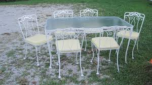Vintage Woodard Patio Furniture Patterns by Excellent Orig Condition 1950 Wrought Iron Table 6 Chairs