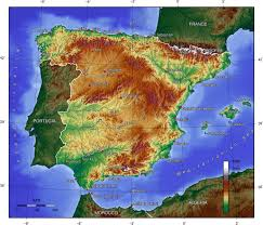Topographic Map Of Europe by Map Of Spain Topographic Map Worldofmaps Net Online Maps And