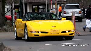 yellow corvette c5 yellow chevrolet corvette c5 convertible accelerating sound