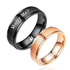 engraved promise rings images Black and rose gold couple promise rings engraved marry me yes jpg
