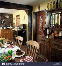 Dining Room Dresser by Dark Wood Supporting Beam And Edwardian Style Dark Wood Dresser In