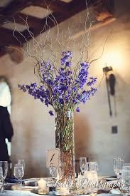 Blue Vases For Wedding Curly Willow In Cylinder Vase With Blue Delphinium Google Search