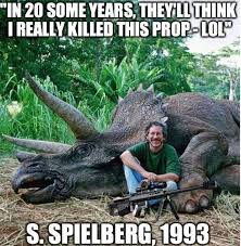 Walk The Dinosaur Meme - photo of steven spielberg with triceratops causes uproar from
