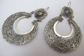 filigree earrings mexican sterling silver large filigree earrings nomad nomad