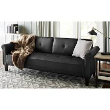 Living Room Furniture Black Norton Black Faux Leather Modern Living Room Sofa Walmart Com