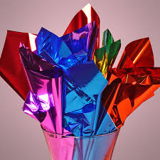 mylar tissue paper colored mirrorized metallic sheets if this was crumpled up