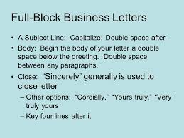 formatting letters full block business letters all parts begin at