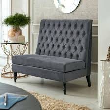 settee design gray tufted settee bench with round wall mirror also