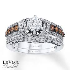 chocolate wedding ring set le vian bridal set chocolate diamonds 14k vanilla gold