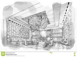 interior sketches sketch perspective interior lobby black and white interior