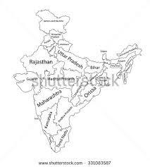 editable blank vector map india vector stock vector 331083587