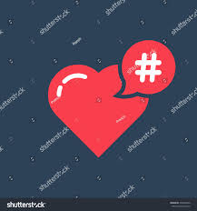 red hashtag icon like heart concept stock vector 538748326