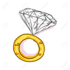 engagement gold ring with big diamond sketch vector illustration