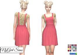 nygirl sims 4 overall dress with floral tee