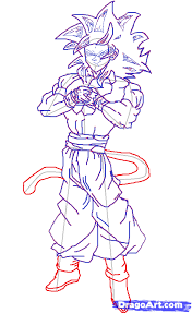 hoe to draw goku super saiyan 4 step by step drawing sheets