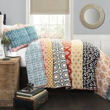 Bedding Quilt Sets Bohemian Stripe Turquoise Orange Bedding Quilt Set Walmart
