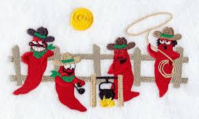 Chili Pepper Christmas Ornaments - machine embroidery designs at embroidery library embroidery library