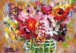 Acrylic Flower Vases Abstract Flowers In Glass Vase Colorful Original Painting By