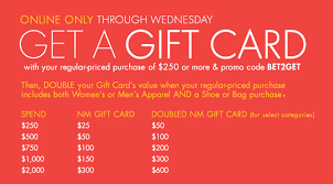 sale gift cards neiman spend some get some event has an bonus for