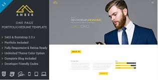 Bootstrap Resume Template Wpshopmart Com Inc Uploads 2017 01 Amber One Page