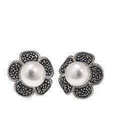 flower stud earrings gray marcasite and cultured pearl flower stud earrings 8653649 hsn