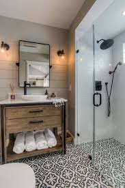 small cottage bathroom ideas this farmhous bathroom wood vanity patterned floor black
