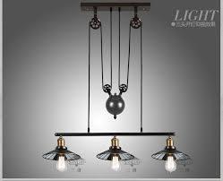 Adjustable Pendant Light Rh Loft Vintage Iron Industrial Led American Country Pulley