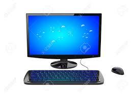 ordinateur pc bureau bureau noir ordinateur pc avec écran large le clavier et la souris
