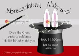 birthday invitations magic with hat u0026 bunny 15 00 via etsy