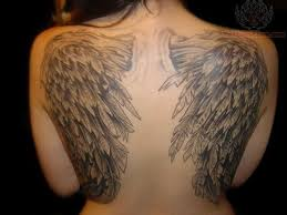 wings on back 117 tattooed and