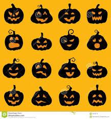halloween decoration jack o lantern silhouette set stock images