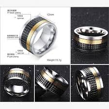 mens spinner rings men spinner rings gold plated key pattern titanium steel