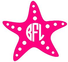 preppy decals initial starfish decal monogram monogrammed happy