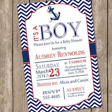 chevron nautical baby shower invitation red blue anchor