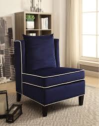 Armless Accent Chair Acme 59574 Ozella Blue Velvet Fabric Armless Accent Chair