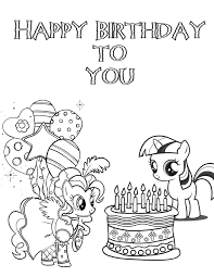 my little pony birthday coloring page h u0026 m coloring pages