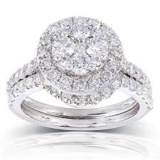 14k gold wedding ring sets 1 1 3ct tw cluster wedding ring set in 14k white