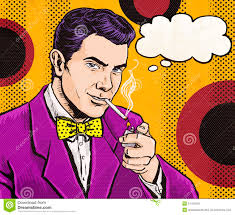 vintage pop art man with cigarette and with speech bubble party