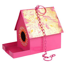 birdhouse home decor wonderland bird house with feeder with in pink