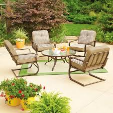 Walmart Patio Conversation Sets Mainstays Lawson Ridge 5 Piece Patio Conversation Set Tan Seats