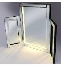 tri fold mirror with lights silver tri fold mirror 78cm x 54cm