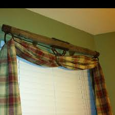 rustic love this curtain rod and fabric combo nice pop of color