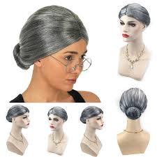 old lady grandma granny grey wig bun hair grand mother fancy dress