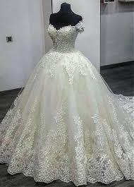 off shoulder neckline ball gown wedding dress style wwd96784